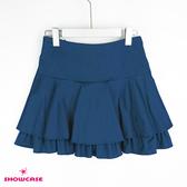 【SHOWCASE】浪漫傘襬雙層荷葉短褲裙(藍)