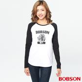BOBSON 女款印圖拉克蘭袖上衣(37071-80)