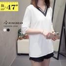 蕾絲袖--氣質優雅布蕾絲五分袖線條羅紋V領棉質上衣(白.黑L-3L)-T353眼圈熊中大尺碼◎