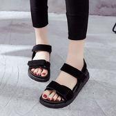 涼鞋 魔術貼涼鞋女夏學生防滑軟底平底運動ins鬆糕跟涼鞋女 綠光森林