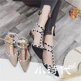 半拖鞋 女鞋粗跟包頭涼鞋尖頭丁字鉚釘鏤空低跟鞋少女鞋
