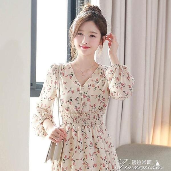 夏季洋裝 2021新款法式碎花雪紡連衣裙女法式收腰顯瘦高檔氣質初戀仙女裙 快速出貨
