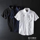 男美式工裝襯衫短袖潮牌復古出口原單剪標軍事風青年襯衣   東川崎町