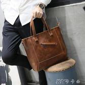 商務包  瘋馬皮單肩包斜背包休閒商務韓版男士包手提包斜跨潮 卡卡西