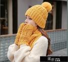 帽子冬季加厚保暖毛線帽女生韓版可愛針織帽子圍巾手套一體三件套 【喜慶新年】