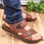 夏季新款男涼鞋皮越南沙灘鞋牛筋底防滑休閒鞋拖鞋男鞋皮鞋