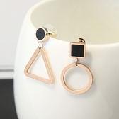 耳環 鏤空 幾何 圖形 不對稱 甜美 耳環【DD1704179】 icoca  05/11