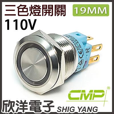19mm不鏽鋼金屬平面三色環形燈有段開關 AC110V / S1901B-110RGB 紅綠藍三色光 CMP西普