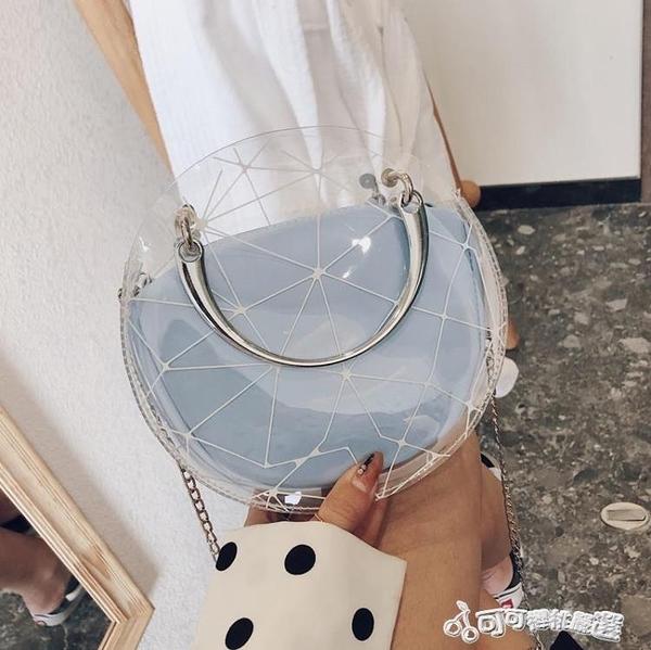 夏天夏季透明小包包女2020新款潮網紅時尚百搭學生錬條斜挎果凍包 Cocoa