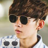墨鏡 金色金屬多角邊框純黑太陽眼鏡【NB0276J】