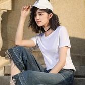【免運】竹節棉t恤女士短袖寬鬆純棉上衣夏超火cec女裝2019新款潮大碼純色