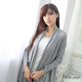 Victoria 燙鋁背心蕾絲外罩薄外套-女-淺灰-V3504883