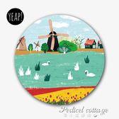 yeap!韓國創意插畫文藝圓形天然橡膠鼠標墊 荷蘭印象·蒂小屋服飾