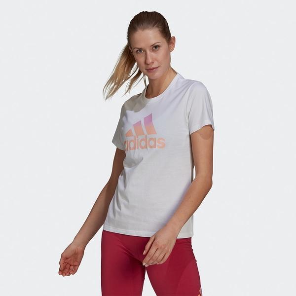 ADIDAS TIE-DYE EFFECT TEE 女裝 短袖 T恤 漸層LOGO 純棉 白【運動世界】GV1301