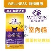 WELLNESS寵物健康[CHGF無穀室內貓糧,體重控制食譜,5.5磅,美國製]