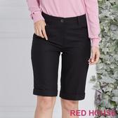 RED HOUSE 蕾赫斯-素面毛料五分褲(黑色)
