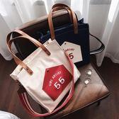 女包包新款時尚托特包韓版字母單肩包ulzzang斜背帆布包大包   卡布奇諾