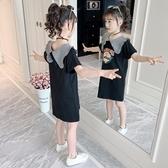 韓國女童連身裙洋裝2020新款洋氣夏裝兒童時髦翻領裙子夏季女孩網紅公主裙【居享優品】