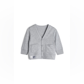 Gap男嬰棉質舒適V領紐扣開衫538798-淺麻灰
