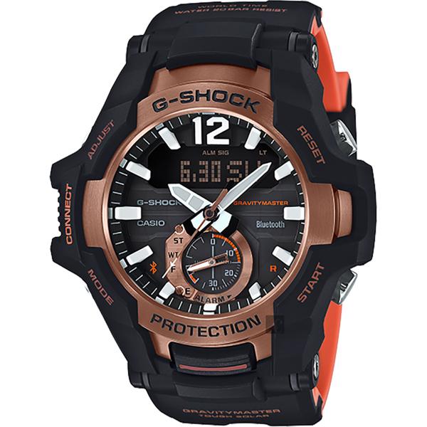 CASIO 卡西歐 G-SHOCK 飛行員太陽能藍牙手錶-橘 GR-B100-1A4/GR-B100-1A4DR 比漾廣場