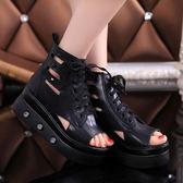鬆糕厚底防水臺涼鞋鉚釘繫帶羅馬女鞋 『水晶鞋坊』