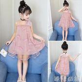 洋裝 女童洋裝兒童裝洋氣雪紡裙子韓版蓬蓬紗公主裙 綠光森林