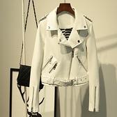 皮衣外套-翻領腰帶純色短款女夾克3色73on37[巴黎精品]