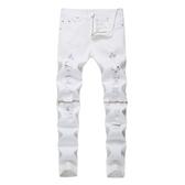 新品特惠# 外貿新款男式牛仔褲亞馬遜速賣通爆款修身小腳破洞拉鏈彈力長褲潮