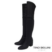 Tino Bellini 義大利進口刷色爆裂紋中跟過膝長靴 _ 黑 A79028A 歐洲進口款