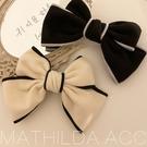 【E0106】韓國精緻時尚風 黑白蝴蝶結造型夾 仿羊絨髮夾 (雙色任選)