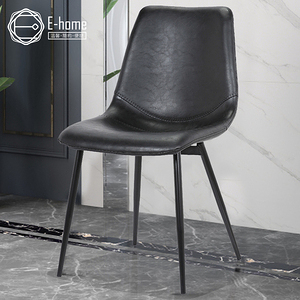 E-home Cliff克里夫工業風造型餐椅-兩色可選黑色