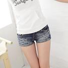 牛仔短褲--俏麗性感藍色系勻染刷破兩分牛仔超短褲(S-7L)-R34眼圈熊中大尺碼◎
