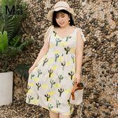 Miss38-(現貨)【A02289】大尺碼渡假風中長版洋裝 V領吊帶綁帶 白色仙人掌 連身裙 -中大碼尺女裝
