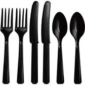 塑膠刀叉匙24入-時尚黑