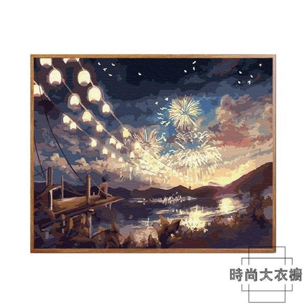 油畫diy數字油畫客廳風景動漫填色手工繪油彩裝飾畫【時尚大衣櫥】