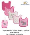 【韓風童品]】美國 Luvable Friends (5件套)女童棉質圍兜 嬰幼兒吃飯衣 嬰幼兒圍兜  口水巾