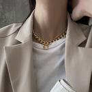 疊戴項鍊歐美ins潮復古金屬粗鍊條疊戴項鍊女嘻哈衛衣毛衣頸鍊鎖骨鍊配飾 晶彩