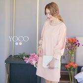 東京著衣【YOCO】優雅氣質小澎袖直筒洋裝-S.M.L(171670)