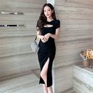 VK精品服飾 韓國風小眾復古設計感性感赫本風開叉短袖洋裝