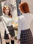 長袖T恤 2020秋冬新款韓版修身顯瘦白色長袖打底衫木耳邊拼接上衣女潮