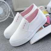 小白女鞋春季新款平底布鞋百搭韓版一腳蹬學生懶人帆布白鞋夏