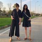 VK精品服飾 韓國風復古波點抽繩系帶單品連身褲