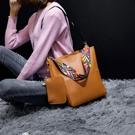 水桶包 新款通勤子母水桶包單肩大容量彩帶手提包女包 交換禮物