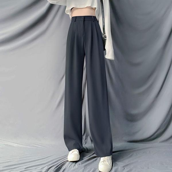西裝褲 女高腰直筒西裝褲2021年新款韓版垂感寬松顯瘦拖地長褲【牛年大吉】