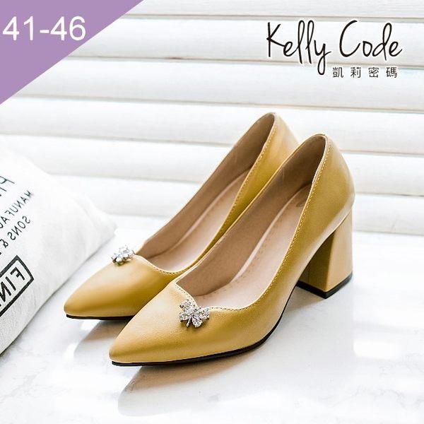 大尺碼女鞋-凱莉密碼-時尚尖頭水鑽蝴蝶結粗跟高跟鞋8cm(41-46)【BK17-2】黑色