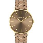 COACH CC品牌圖騰手錶-咖啡/36mm CO14503441