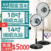 【狐狸跑跑】(14吋+18吋特惠組)台灣製 中央牌 專利內旋式循環立扇基本款 電風扇 電扇