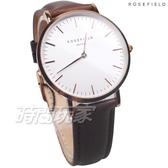 ROSEFIELD 歐風美學 時尚簡約 圓形 真皮 女錶 防水手錶 玫瑰金x咖啡 BWBRR-B3