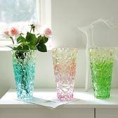 花盆 花瓶 加厚幻彩色玻璃花瓶富貴竹百合透明花瓶簡約客廳水培花瓶擺件 巴黎春天