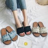 拖鞋女夏時尚外穿2019新款韓版百搭防滑涼拖學生沙灘鞋平底一字拖